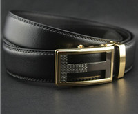 Standard Standard Genuine Leather 2013 Fashion MEN'S belt Genuine Leather Waist Strap Belts Automatic Buckle Black free shipping