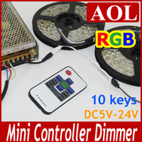 Wholesale 5pcs RGB LED strip Controller W With RF Wireless Remote Control Mini Dimmer for smd Led Strip light