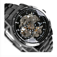 Wholesale black belt with gift box Hollow Noctilucent skeleton men mechanical watch Luxury Wristwatche men watch sports Stainless Men s Watches