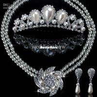 Em estoque casamento jewlery brilhantes pedras de cristais colar earings BAN001