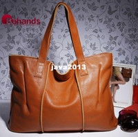 Wholesale 2013 Cowhide Genuine Leather Handbag Brown Handbags Casual Women s Shoulder Bags Purses Leather Totes BH282