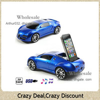 Wholesale Vogue Car Shaped Music Player Speaker FM Radio Subwoofer Stand Dock TF Card Plug On Play MM Audio Jack Devices for Apple iPhone S