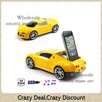 Wholesale Good Car Shaped Music Player Speaker FM Radio Subwoofer Stand Dock TF Card Plug On Play MM Audio Jack Devices for Apple iPhone S