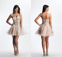 Wholesale 2014 Champagne Homecoming Dresses Sexy New Spaghetti Crystals Beaded Organza Sheer Corset Back Lace up A Line Party Gowns DA