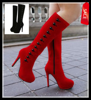 Wholesale 2 Colors Korea Designer Shoes High heels with button Women s winter red knee high long boots add plush