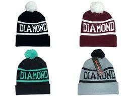 Wholesale Diamond Supply Co World Beanie With pom pom Beanies Hip Hop Snapback Hats Custom Knitted Cap Snapbacks Popular hat cap Mix Order Free Ship