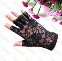 Wholesale Black White lace gloves fingerless ruffle dressy or goth Sex Glove