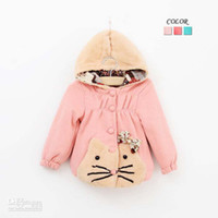 Girl Spring / Autumn Cotton Blends Kids Clothing Children Outwear Fashion Bowknot Cartoon Coat Child Overcoat Girls Cute Polka Dot Hooded Coat Baby Winter Coats Girl Clothes v
