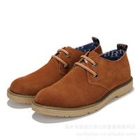 Lace-Up Men Spring and Fall Spring new men casual shoes suede leather men's British style fashion OEM processing factory