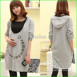 Wholesale 092302 maternity dress autumn nursing dress for pregnant women gray long sleeve maternity wear maternity hoodies