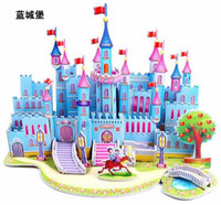 Wholesale D Puzzle DIY Castles Models Building paper craft Educational Toys Jigsaw Kids Games different styles