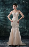 Wholesale Hot Item Champagne Colourful Crystals Beaded Floor Length Long Sleeves Prom Evening Dresses