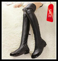 Wholesale 2013 ladies new sexy black leather slim over the knee low heel boots back zipper leather thigh high boots fashion winter boots size