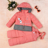 Wholesale child down coat set child girls clothing baby down coat winter Children down jacket suit jacket feather suspenders two piece