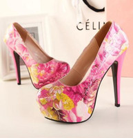 Wholesale 2013 Floral prints high platform high heels Elegant Women s dress shoes evening ultra thin heels women s shoes EU EU US9