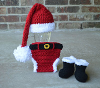 Unisex babys photos - Santa Hat Diaper cover boots Santa Set newborn photo prop babys first christmas outfit