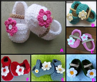 Unisex Winter Fur 35%off Mary Jane crochet shoes. Lovely flowers+pearl casual shoes.9,10,11CM toddler shoes baby wear cheap shoes online chaina 6pairs 12pcs