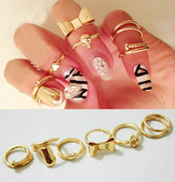 South American punk - New Fashion Gold Plated Alloy Punk multielement heart skull bowknot Cool Finger Nails Rings Set