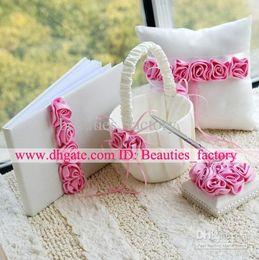 Wholesale Hot Sale Wedding Collection Set Pink Rose Wedding Guestbook Pen Ring Pillow Flower Basket