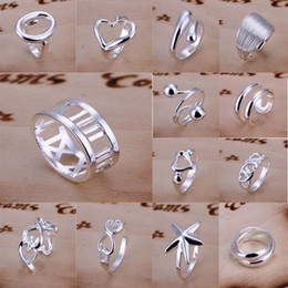 New Style Rings Jewelry 925 Silver 14 Styles Charms Open Style Rings Unisex Rings Jewelry 30Pcs