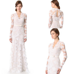 2015 Hot Formal Evening Dresses New White V neck Long Sleeve with Bow Sash Lace Party Evening Dress Garden Wedding Gown Custom made