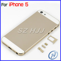 Wholesale Metal Champagne Gold Middle Frame Back Cover Housing Replacement Part for iPhone5 G pc by Chinapost