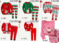Wholesale girl s boys long sleeve cotton santa pyjamas children christmas sleepwear kids garments sets models