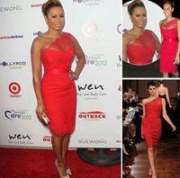Wholesale Cheap Melanie B Sexy Red Evening Dresses One Shoulder New Lace Mini Short Celebrity Dresses