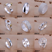 Band Rings 925 sterling silver ring - 50Pcs Fashion Rings Jewelry Sterling Silver Mix Styles Vintage Fashion Vogue Rings Nice Gift Size