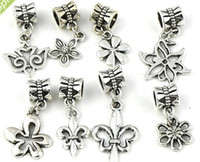 Wholesale Mix Tibetan Silver fleur de lis Flower Charm Dangle Beads Fit European Bracelets