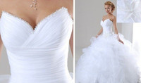 Wholesale In Stock Hot Sale Cheap White Ivory Sweetheart Beaded Organza Material wedding dresses Gown Retail WD0005