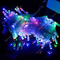 Wholesale 10M LED Colorful Lights Decorative Christmas Party Festival Twinkle String Lamp Bulb V EU TK0200