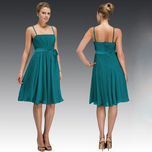 latest Spaghetti Strap Knee Length Silk Chiffon Teal Bridesmaid ...
