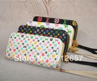 Wholesale women s PU leather long Wallet Ladies Colored Letters and Floral Printed designer Purse Checkbook Handbag