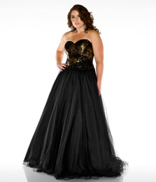 Wholesale Plus Size Sweetheart A Line Black Gold Strapless Tulle Lace UP Prom Dresses Quinceanera Dress