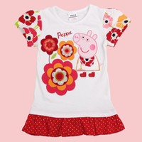 Wholesale K4379 Nova kids summer wear m y baby girl t shirt dress cartoon PEPPA PIG clothes girls tunic tops cotton floral printing tee shirts