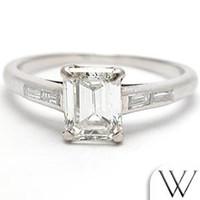 emerald cut diamonds - Antique Emerald Cut Diamond Engagement Ring Platinum