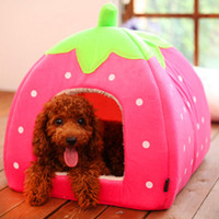 Wholesale Cute and Lovely Folding Strawberry Pet House Kennel Cat Dog Bed Collapsible via China post air mail