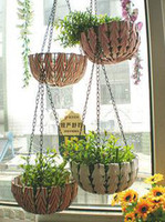 Wholesale Handmade wicker flower hanging basket round rattan iron hanging basket wall basket for artifical flowers