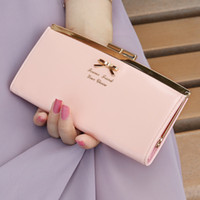 Wholesale Fashion ladies Golden Bow PU leather long design purses brand designer women s wallet evening clutch unique christmas gift