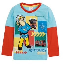 Wholesale A4239 Blue Nova children autumn winter clothing m y boys t shirts cartoon Fireman Sam t shirt printing cotton long sleeve sweater tops