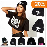 boy london - Winter New BOY LONDON Eagles Knitted Wool Cap Fashion Embroidered Black Warm Hat For Boy Girls Beanies style mixed X0200