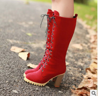 Wholesale The new high heeled thick frosted front lace high boots women s boots