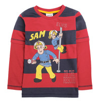 Wholesale A4273 Red navy Nova kids autumn winter clothing m y boys t shirts cartoon Fireman Sam t shirt printing cotton wide stripes sweater tops
