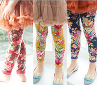 Wholesale Children Flower Fleece Warm Tights Clothes Girl Skinny Pants Velvet Kid Clothing Floral Leggings Child Garment Outwear Yellow Red Navy D0241