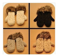 Wholesale 2013 new winter gloves women lovely lady pure manual weaving upset warm rabbit feather fashion designer wool mittens