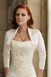 Custom Made Classic Satin Wedding Jackets With 3 4 Sleeve Hot Sale bridal dress shrug   shawl   wraps