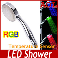 Cheap LED light hand-held shower temperature control bright color tri-color & 7 Color Changing Colorful LED Flower Sprinkling AS1304