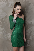 Wholesale Sexy One Shoulder Sleeve Mini Short Green Red Sequins Crystal Cocktail Evening Prom party Dresses