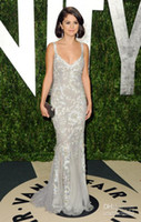 Sexy fair white - hot Selena Gomez Vanity Fair Flawless Silver summer Evening Dress with Lace amp Mermaid EWL219